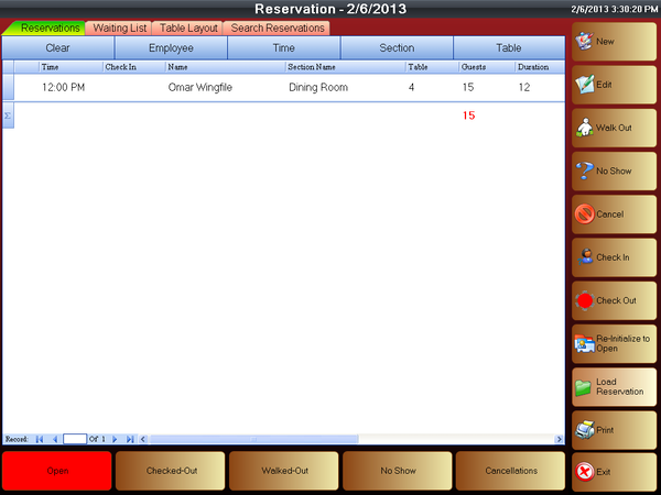 Reservation screenshot