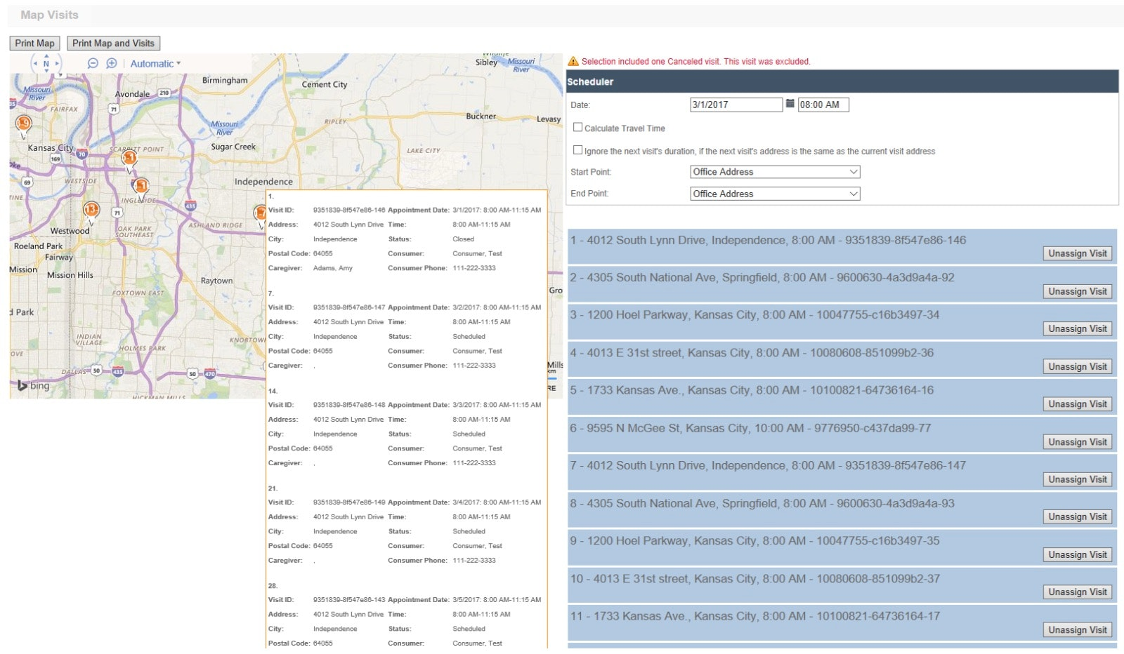 Scheduling with Interactive Map