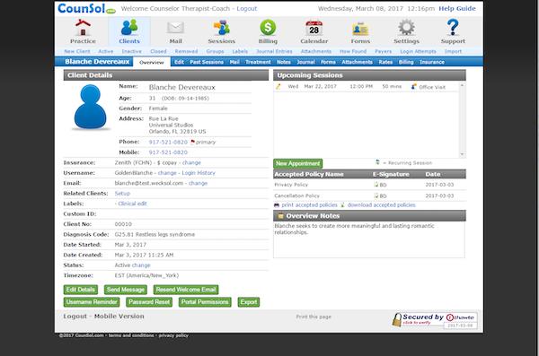 CounSol.com client overview
