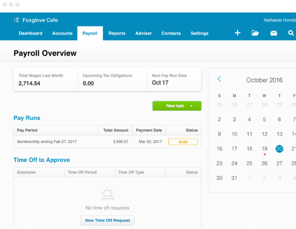 Xero payroll overview screenshot
