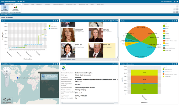Business entity dashboard