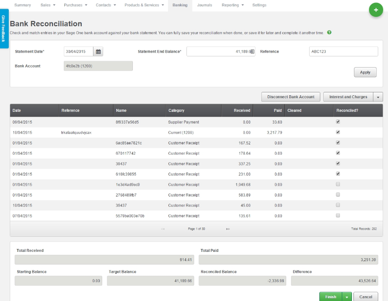 Sage Business Cloud Accounting - Bank reconciliation