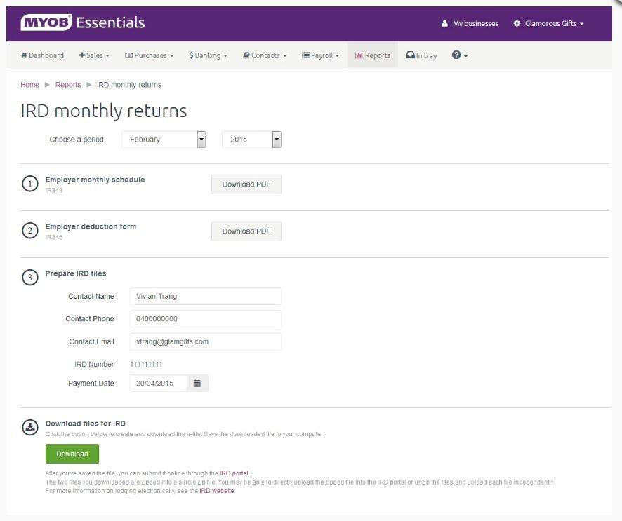 MYOB Essentials - IRD monthly returns