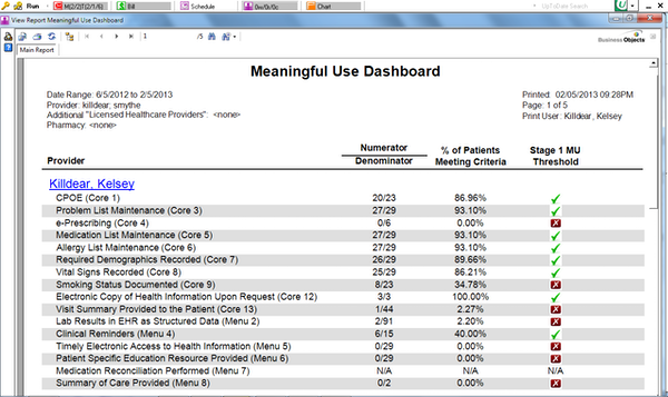 e-MDs meaningful use dashboard