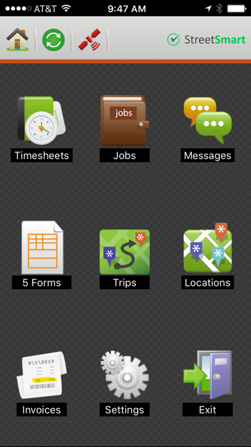 StreetSmart Advantage - Mobile app menu