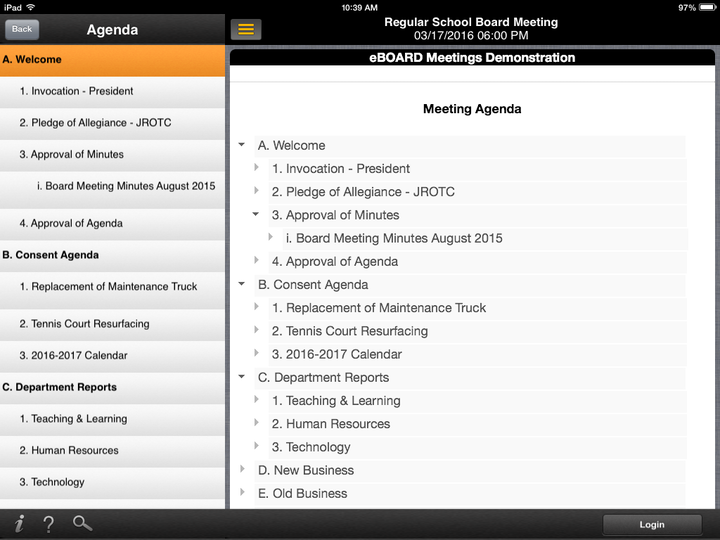 Meeting agenda menu