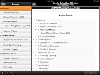 Meeting agenda menu
