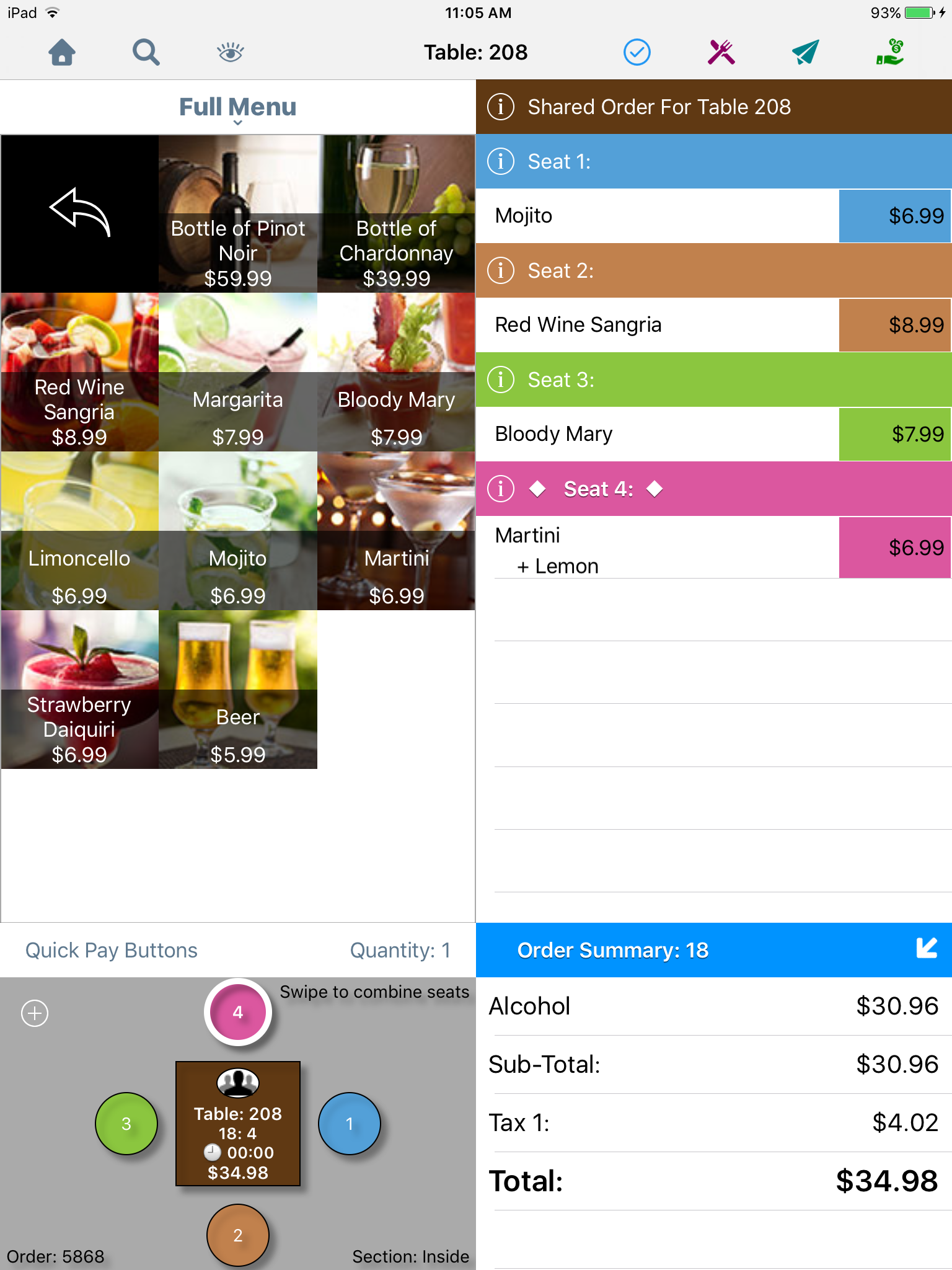 TouchBistro Restaurant POS - Split bill