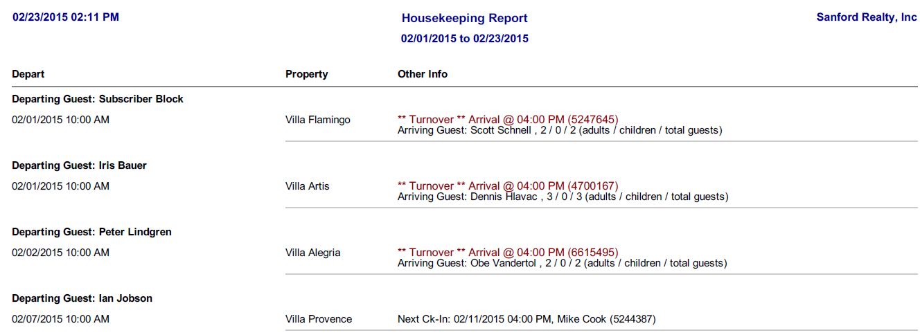 Housekeeping reports