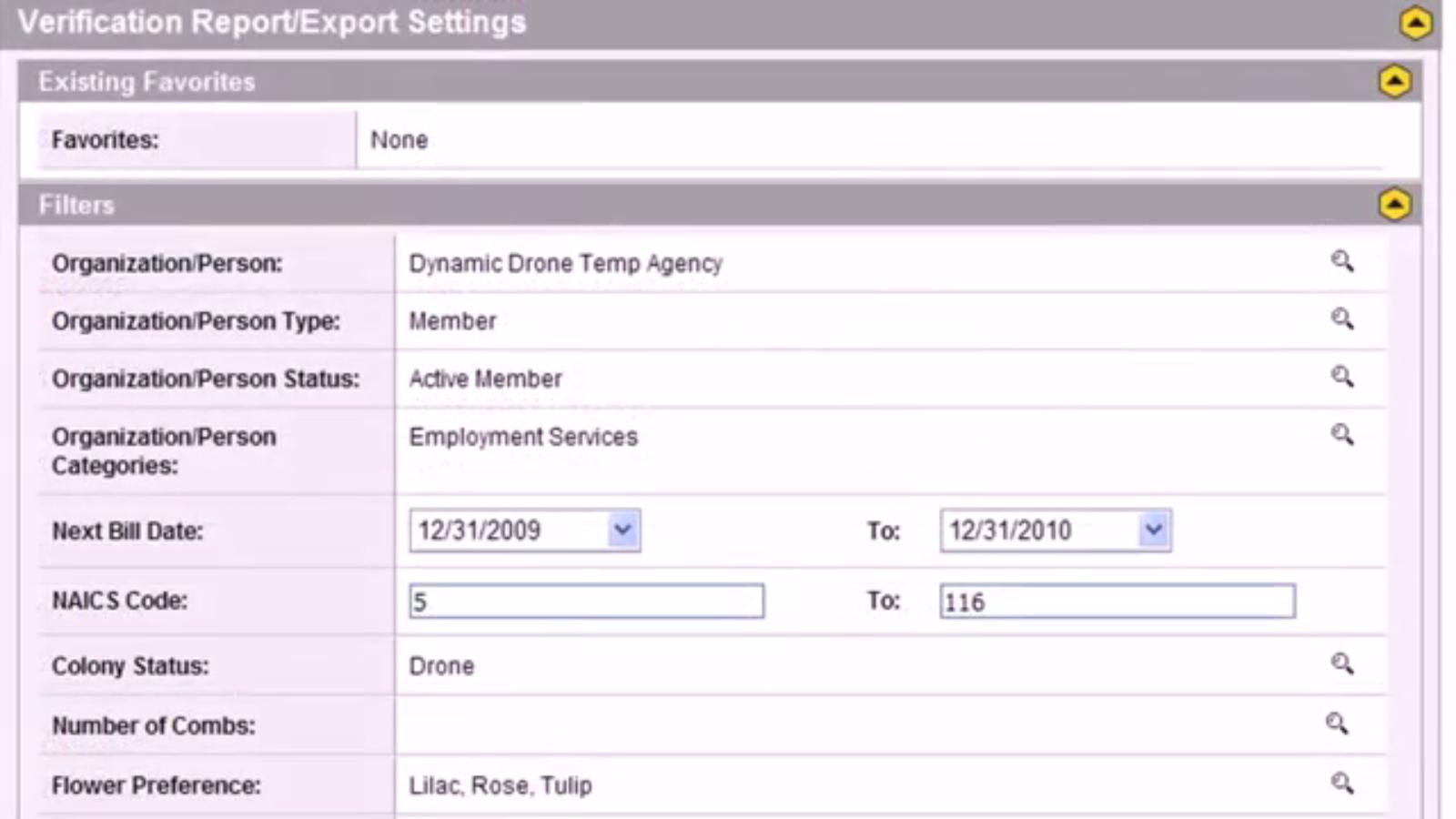 Verification report/export settings