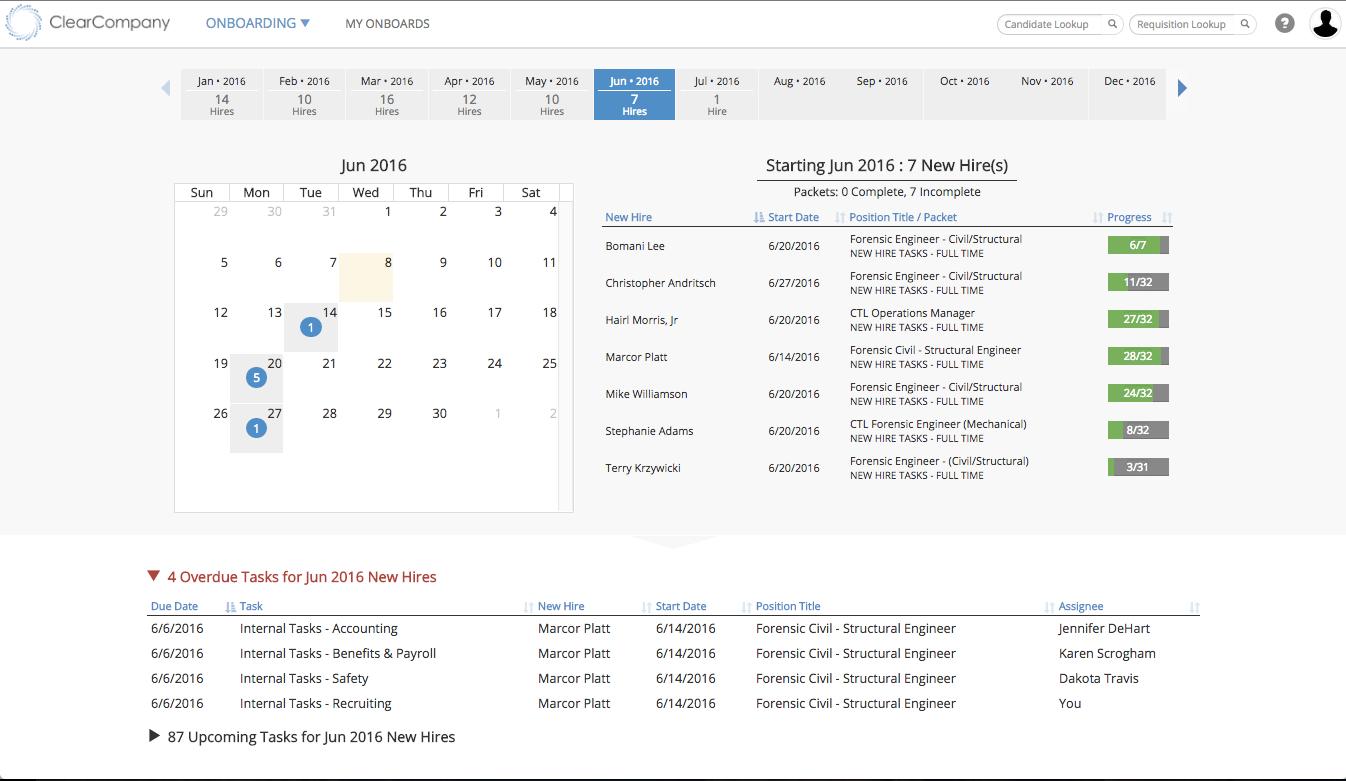 Onboarding calendar