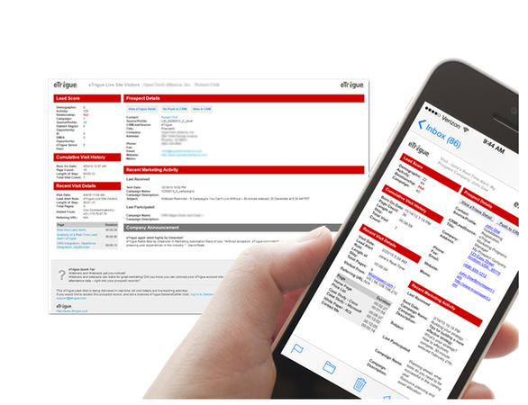eTrigue DemandCenter Mobile Interface