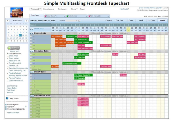 Simple multitasking frontdesk tapechart