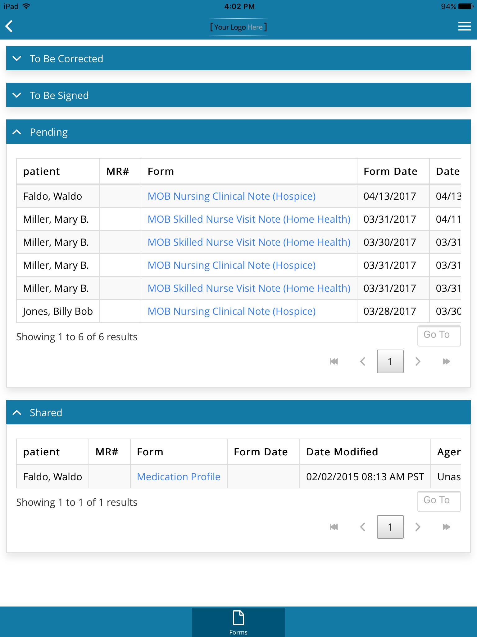 DeVero - Patient records