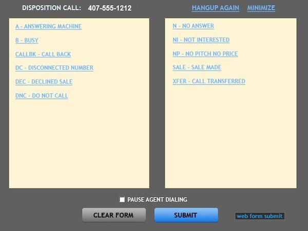 Call disposition screen