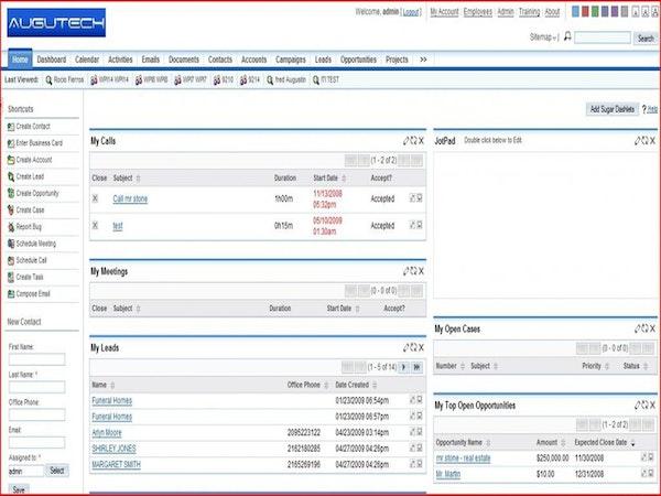 Sugar CRM interface