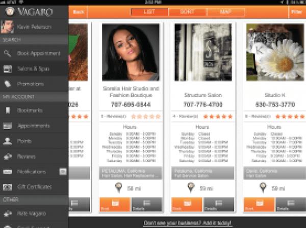 Vagaro listed services screenshot