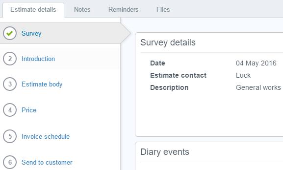 Enter survey details