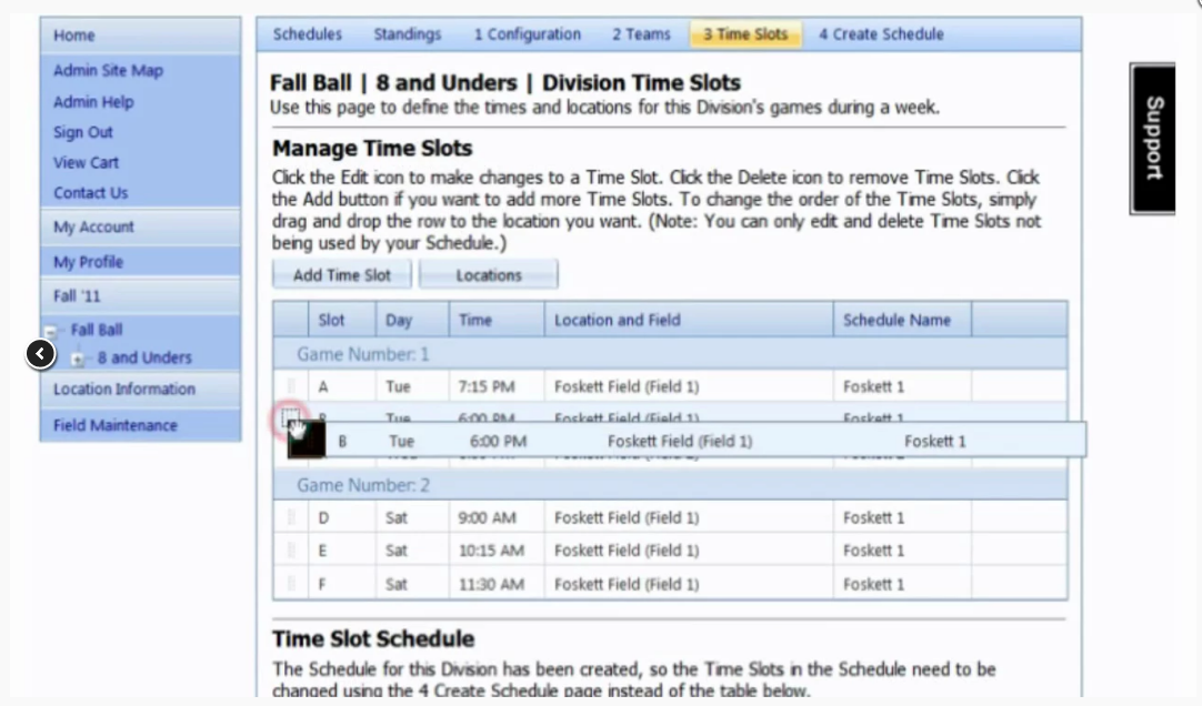 Manage time slots