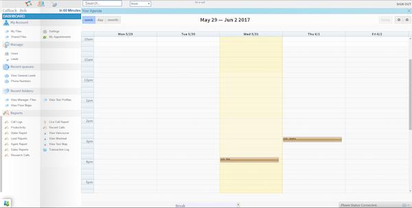 XenCALL Predictive Dialer CRM - Calendar