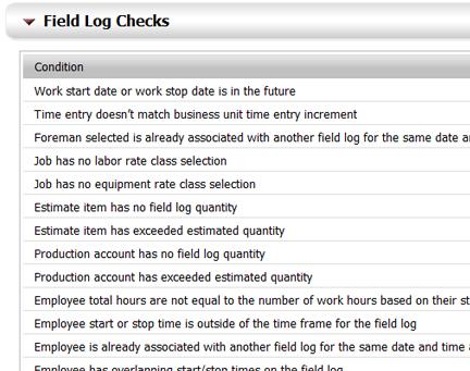 Field Log Error Checks