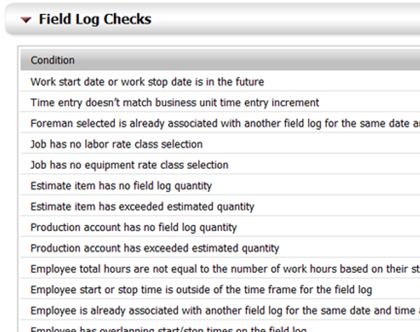 Field Log Error Checks
