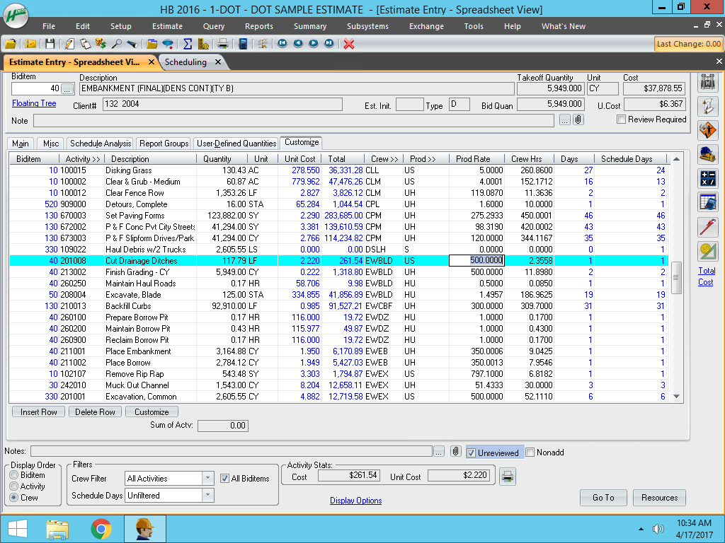HCSS HeavyBid - Estimates spreadsheet