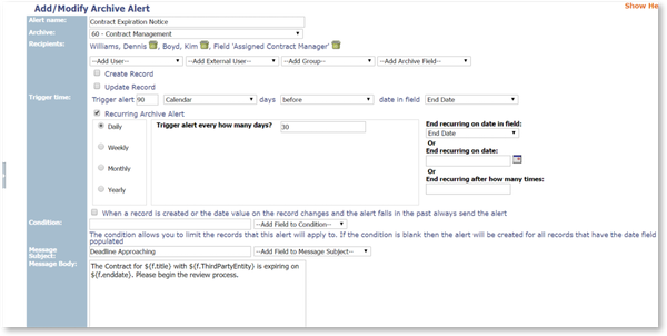 Add/modify archive alert
