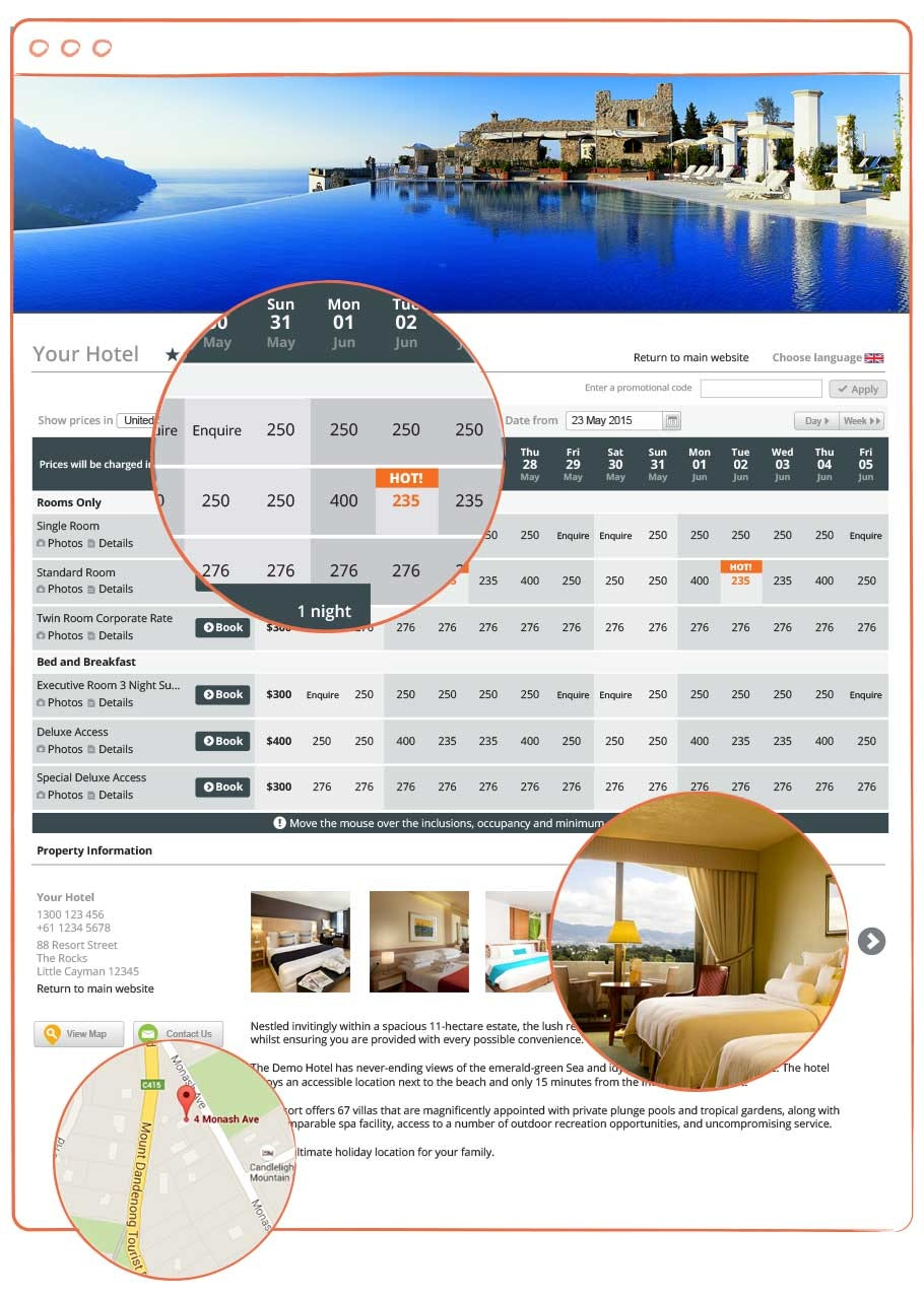 Customized booking website