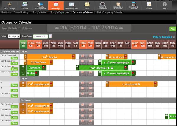 Occupancy calendar