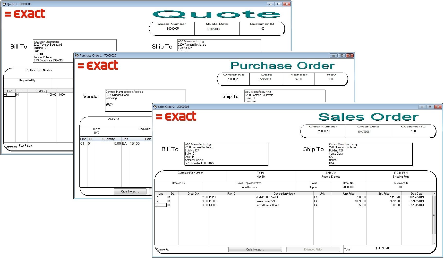 Quote, PO, Sales Order