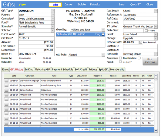 Donations data entry