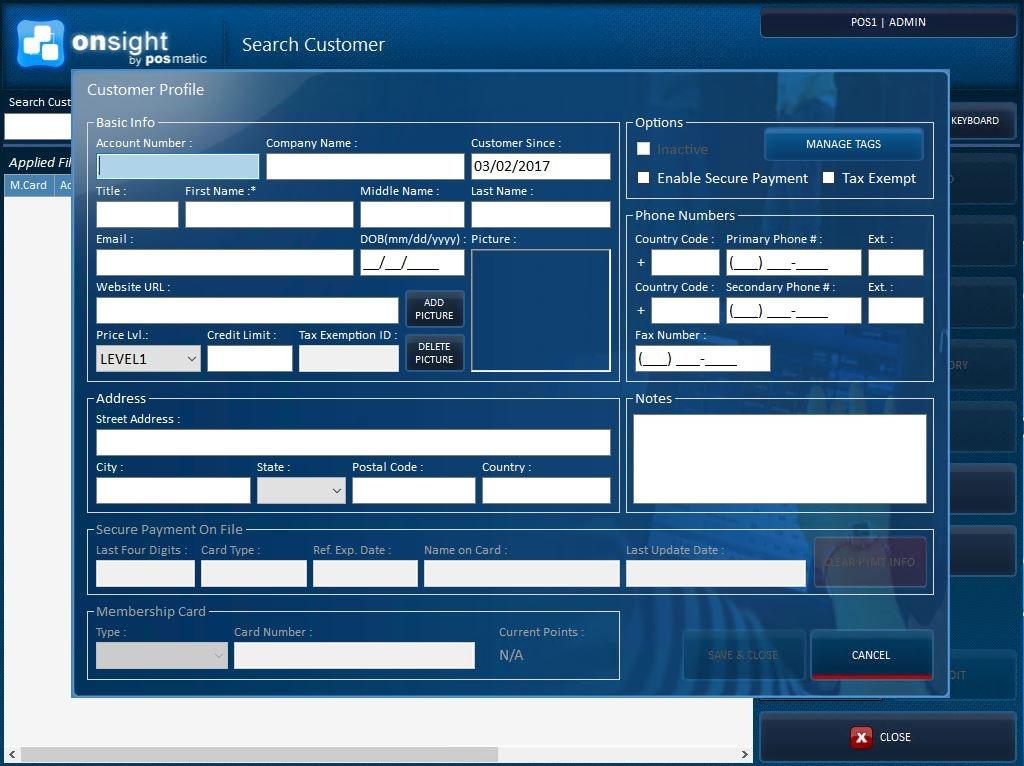 ONsight POS - Customer profile