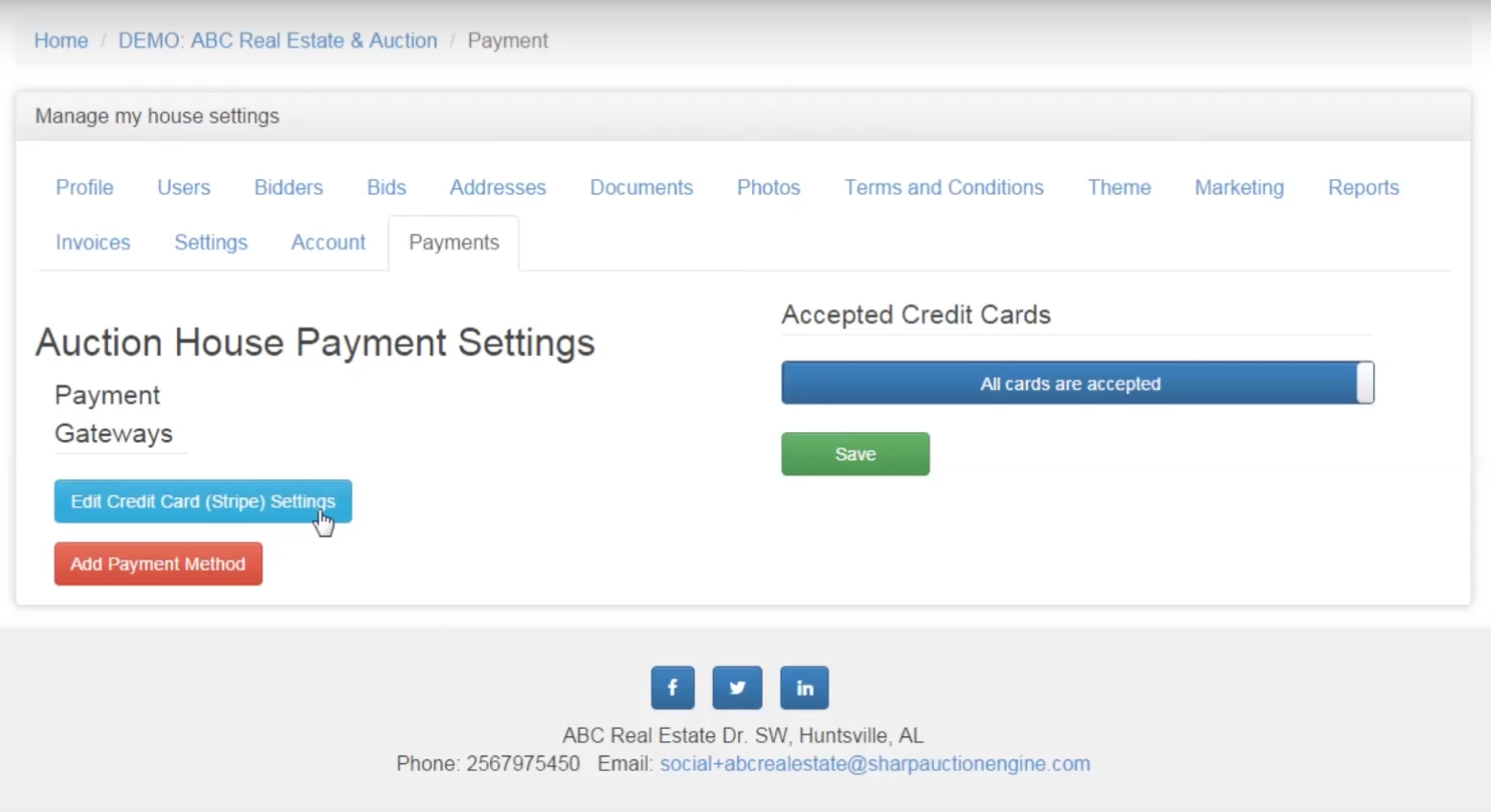 Payment settings