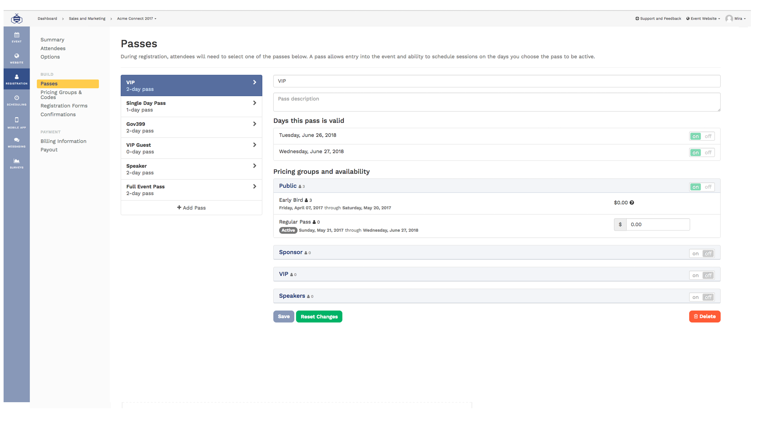 Configure event passes