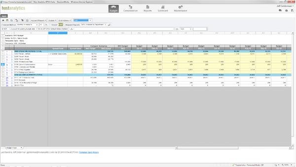 Planful - Budget input template