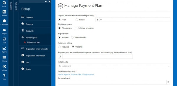 Manage payment plan