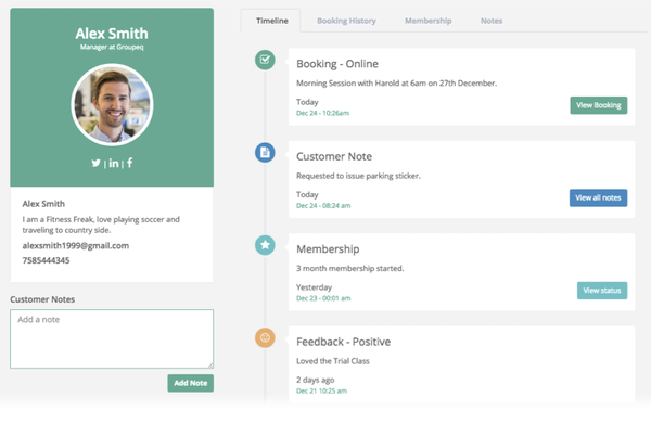 Omnify client profile screenshot