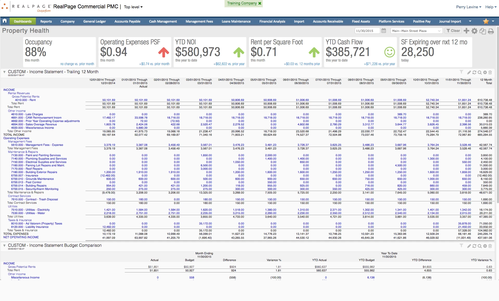RealPage - Property income statement