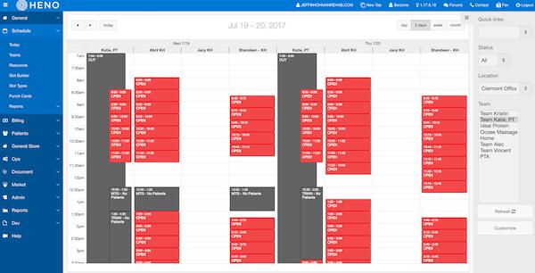 HENO schedules