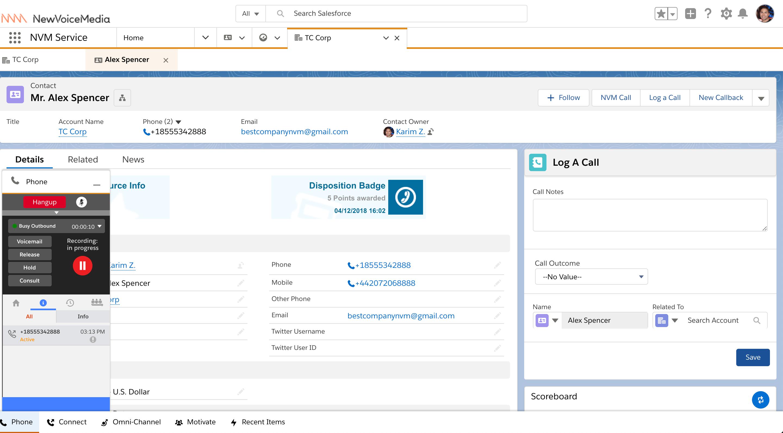 NewVoiceMedia Cloud Contact Center - Click-to-dial