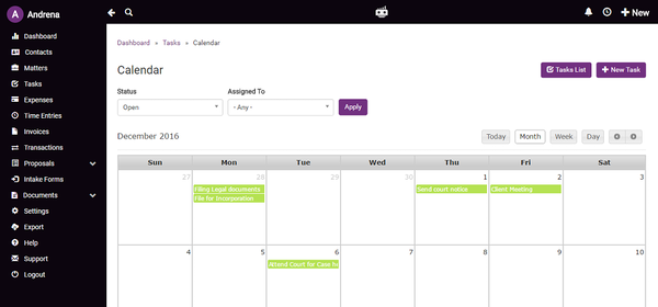 LawGro tasks in calendar