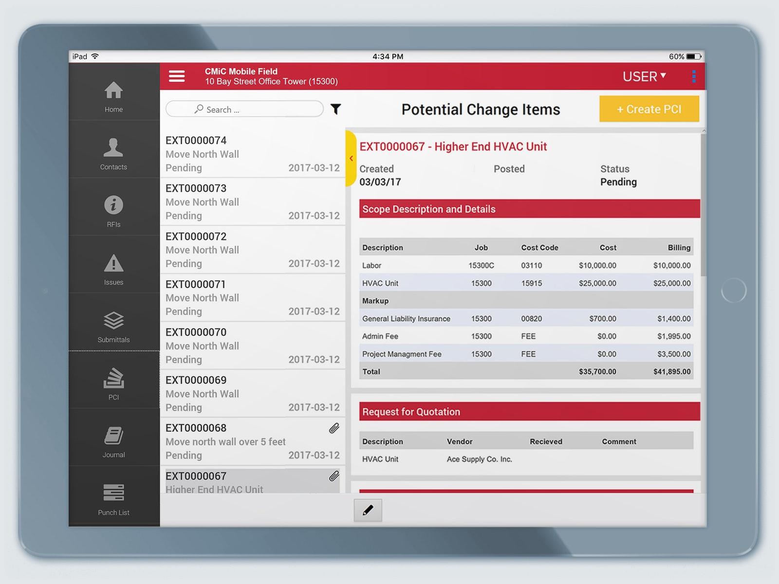 CMiC mobile field - PCI