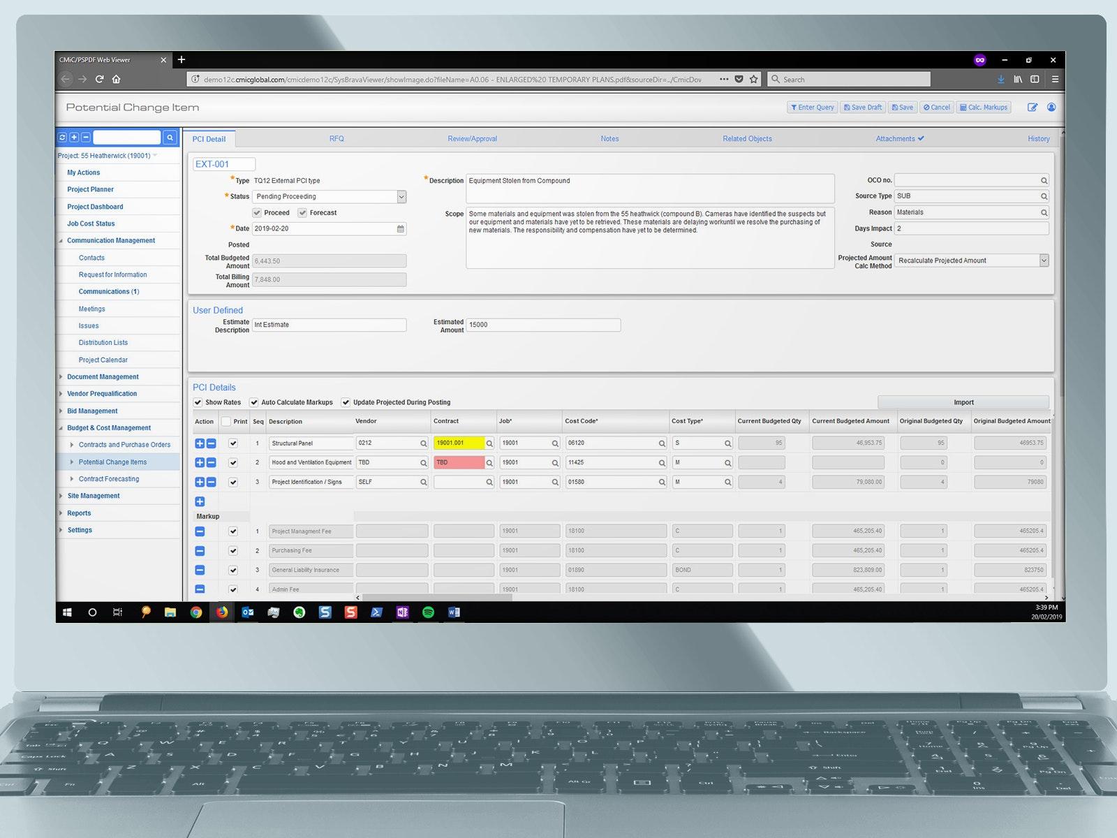 CMiC - change order management