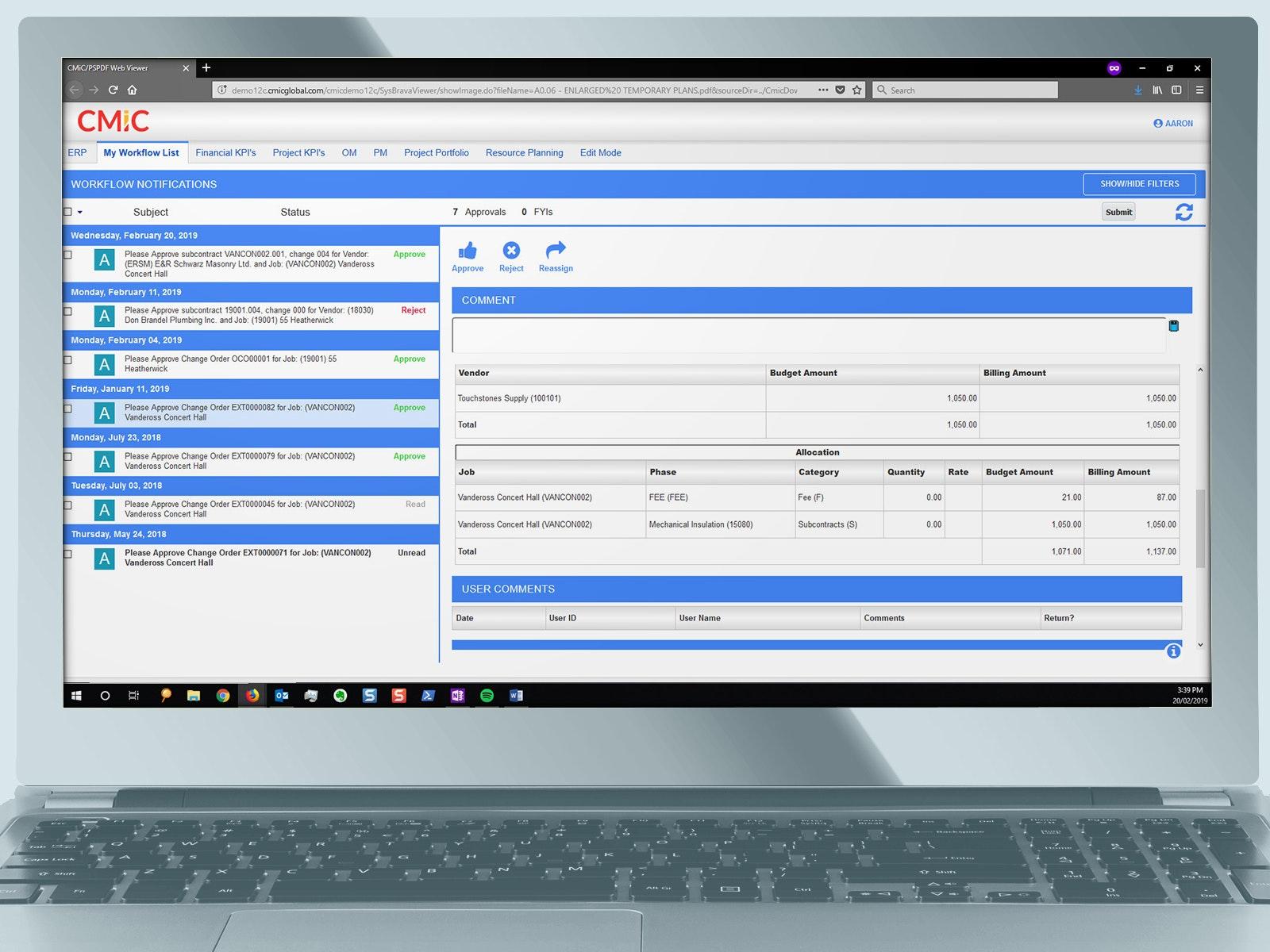 CMiC - workflow management