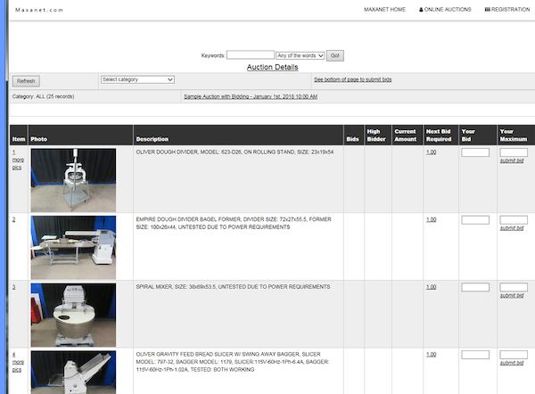 Auction item list