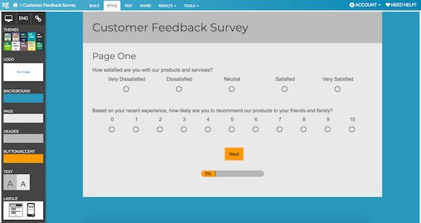 Style your survey for desktop
