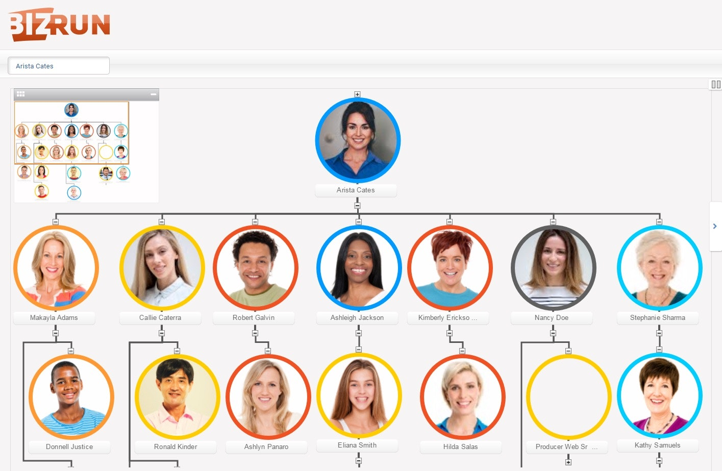 Org chart interface