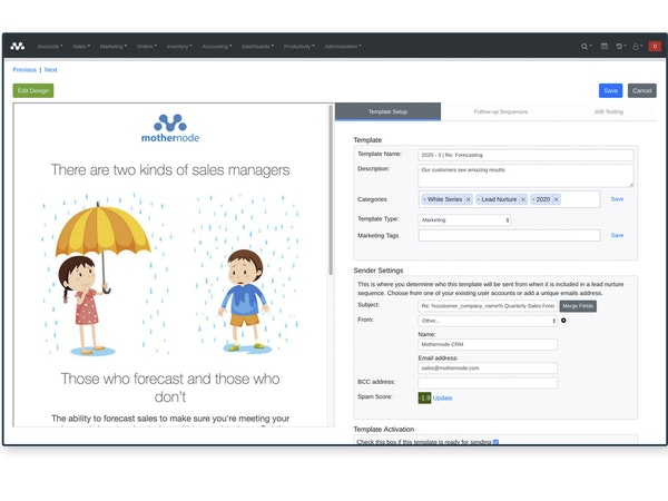 Mothernode CRM - Email marketing automation