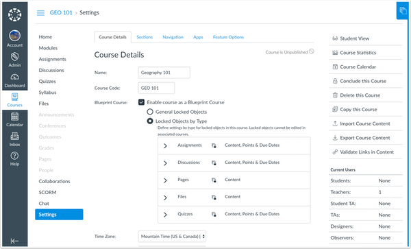 Blueprint Course Settings